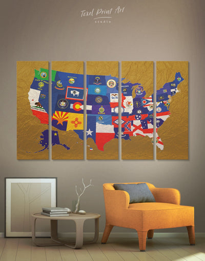5 Panels State Flags The USA Wall Art Canvas Print - 5 panels Abstract Country Map Flag Wall Art Gold