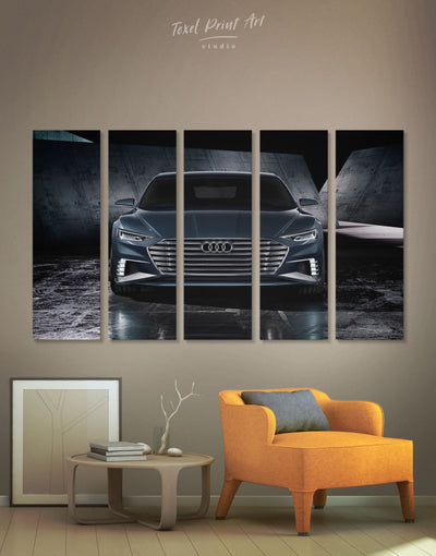5 Panels Steel Audi A8 Car Wall Art Canvas Print - 5 panels bachelor pad black car garage wall art