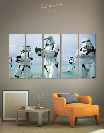 5 Panels Stormtrooper Wall Art Canvas Print - 5 panels bachelor pad bedroom Black Blue