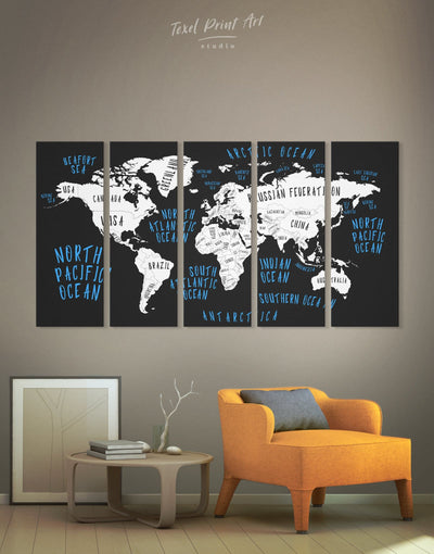 5 Panels Stylish Abstract World Map Wall Art Canvas Print - 5 panels Abstract map bedroom Black blue