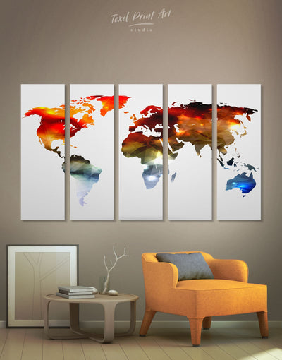 5 Panels Stylish World Map Wall Art Canvas Print - 5 panels Abstract map bedroom geometric world map Living Room