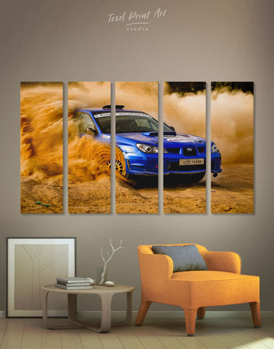 5 Panels Subaru Sportcar Wall Art Canvas Print - 5 panels bachelor pad car garage wall art manly wall art