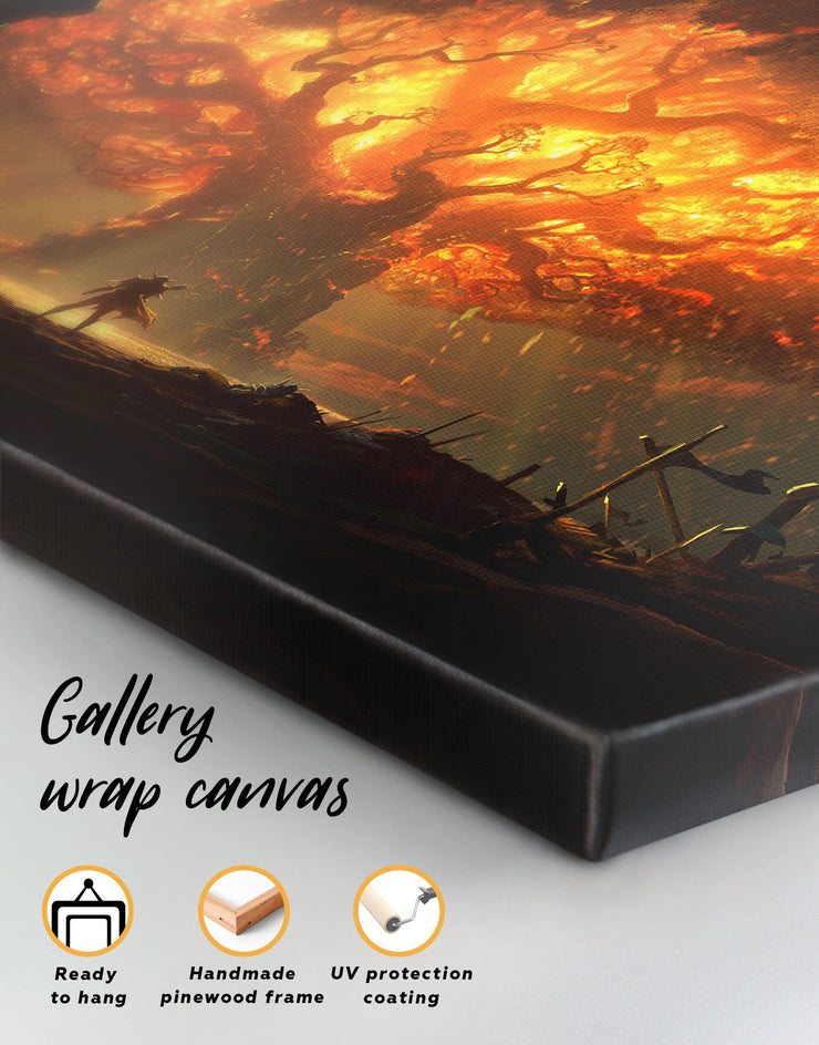 5 Panels Teldrassil Art Wall Art Canvas Print - Canvas Wall Art 5 panels bachelor pad bedroom Hallway Living Room