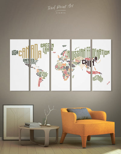 5 Panels Text World Map Wall Art Canvas Print - 5 panels Abstract map bedroom Contemporary Living Room