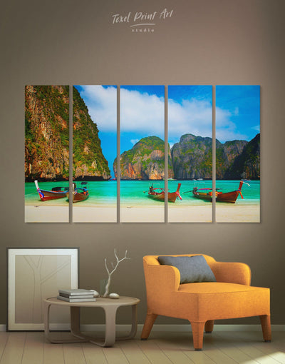 5 Panels Thai Beach Wall Art Canvas Print - 5 panels Beach House beach wall art bedroom coastal wall art