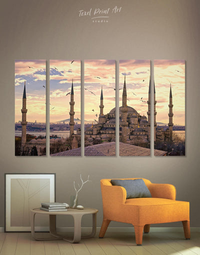5 Panels The Blue Mosque In Istanbul Wall Art Canvas Print - Canvas Wall Art 5 panels Architectural Wall Art bedroom Hallway Living Room