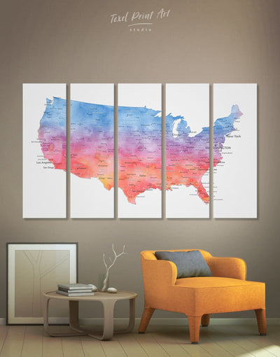 5 Panels The USA Map Wall Art Canvas Print - 5 panels bedroom Blue blue and white contemporary wall art