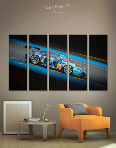5 Panels Touring Car Racing Wall Art Canvas Print - 5 panels bachelor pad black blue car