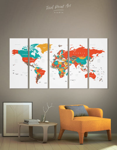 5 Panels Trendy Push Pin World Map Wall Art Canvas Print - 5 panels green Living Room Office Wall Art Pushpin Travel Map
