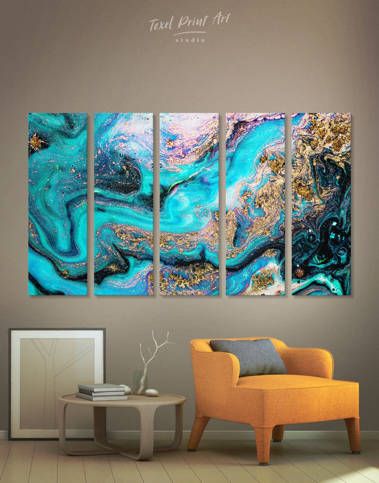 5 Panels Unique Geode Wall Art Canvas Print - 5 panels Abstract bedroom blue blue and white
