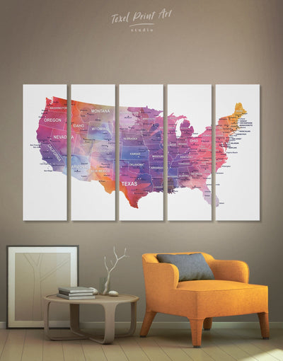 5 Panels USA Map Watercolor Wall Art Canvas Print - 5 panels bedroom Hallway Living Room Office Wall Art