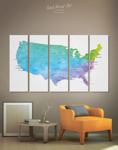5 Panels USA Travel Map Wall Art Canvas Print - 5 panels bedroom Blue blue and white contemporary wall art