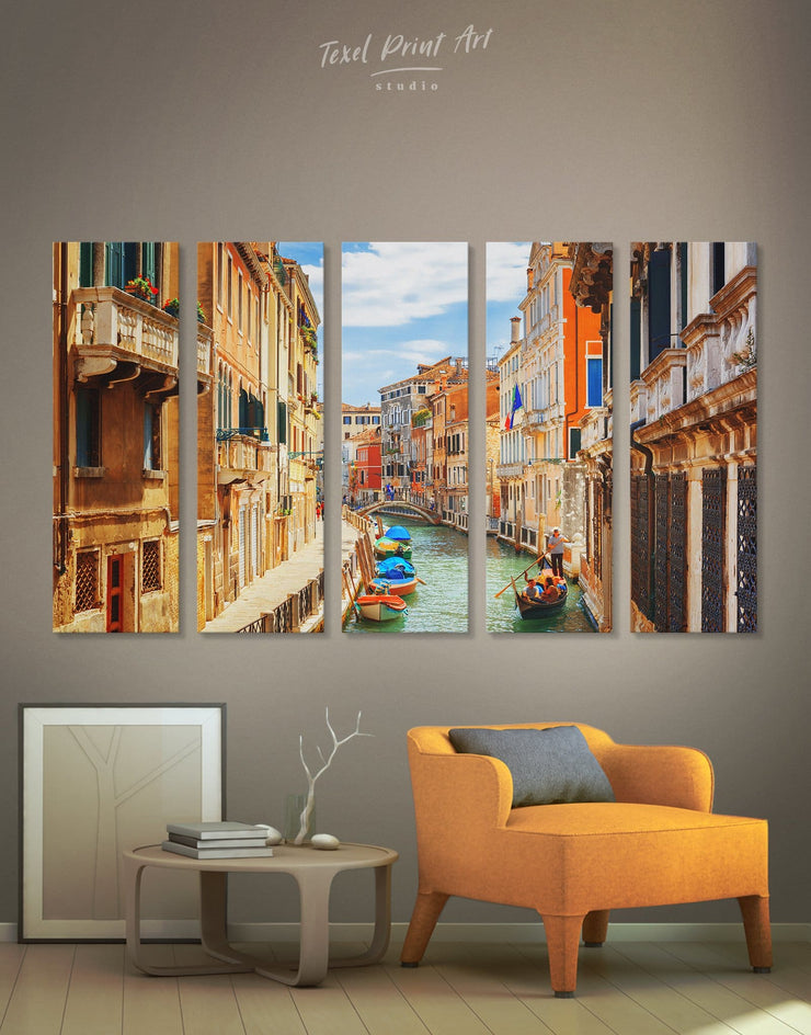 5 Panels Venice Street Wall Art Canvas Print - 5 panels bedroom City Skyline Wall Art Cityscape Italy wall art
