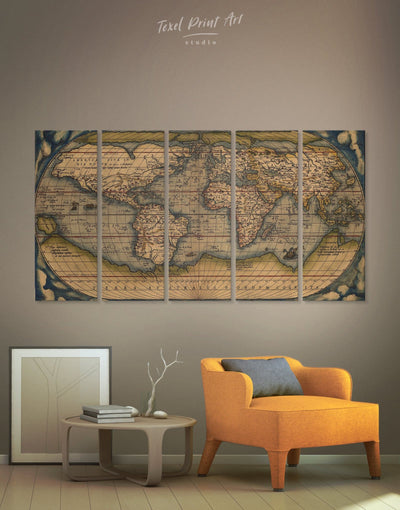 5 Panels Vintage Map Wall Art Canvas Print - 5 panels Antique world map canvas bedroom Brown Hemisphere World Map