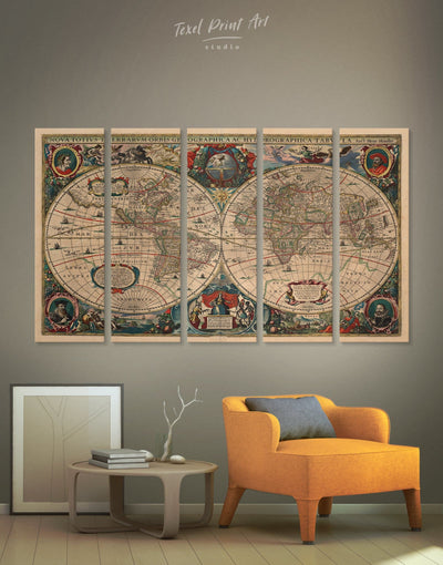 5 Panels Vintage World Map Wall Art Canvas Print - 5 panels Antique Antique world map canvas bedroom Brown