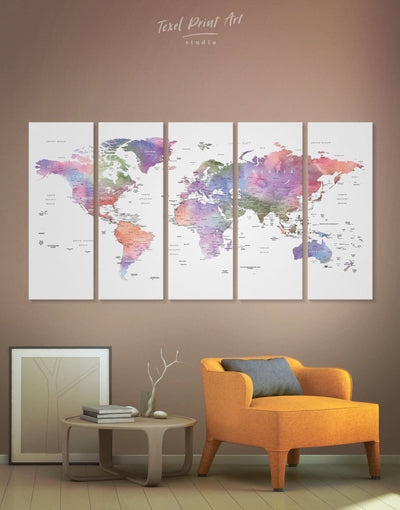 5 Panels Violet Watercolor World Map Wall Art Canvas Print - 5 panels Contemporary contemporary wall art Living Room Office Wall Art