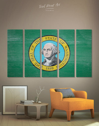 5 Panels Washington State Flag Wall Art Canvas Print - 5 panels flag wall art green Hallway Living Room