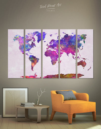 5 Panels Watercolor Modern World Map Wall Art Canvas Print - 5 panels Abstract map corkboard Hallway Living Room
