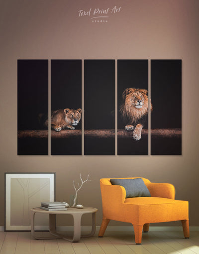 5 Panels Wild Lions Wall Art Canvas Print - 5 panels Animal bedroom black and gold wall art lion wall art