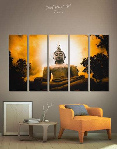 5 Panels Wisdom Buddha Wall Art Canvas Print - 5 panels bedroom Black Buddha wall art buddhist wall art