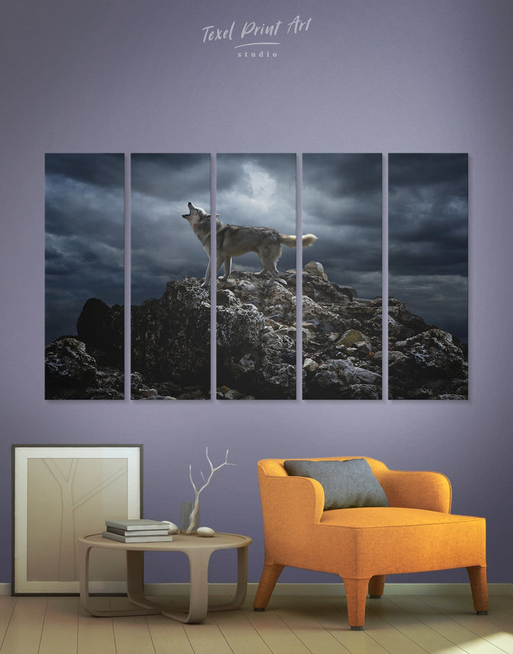 5 Panels Wolf at Night Wall Art Canvas Print - 5 panels Animal Animals bedroom Grey