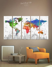 5 Panels World Map Colorful Wall Art Canvas Print