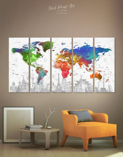 5 Panels World Map Colorful Wall Art Canvas Print - 5 panels Living Room map of the world labeled modern wall art Office Wall Art