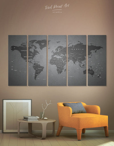 5 Panels World Map Grey Wall Art Canvas Print - 5 panels bedroom Contemporary contemporary wall art Grey
