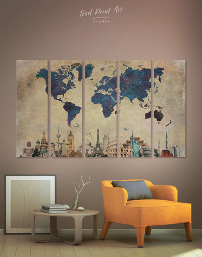 5 Panels World Map Landmarks Wall Art Canvas Print - 5 panels Abstract map Blue blue wall art for bedroom Blue wall art for living room