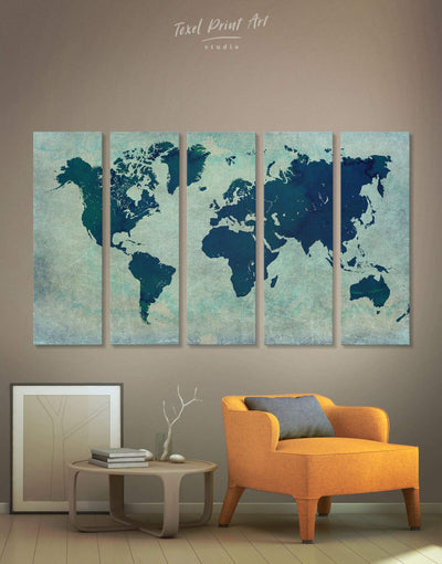 5 Panels World Map Wall Art Canvas Print - 5 panels Abstract Abstract map bedroom Blue