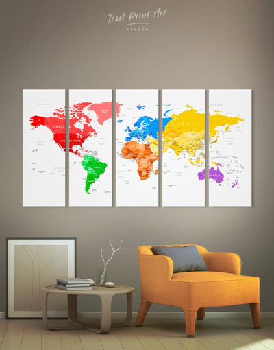 5 Panels World Map with Cities Wall Art Canvas Print - 5 panels bedroom blue contemporary wall art green