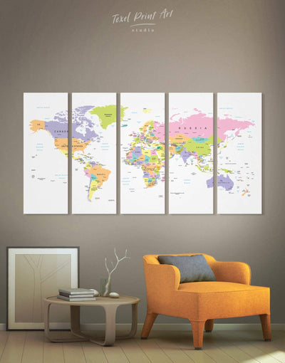 5 Panels World Map With Countries Wall Art Canvas Print - 5 panels Hallway Living Room pink Push pin travel map