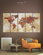 5 Panels World Map with Labels Wall Art Canvas Print
