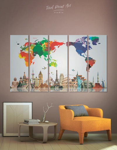 5 Panels World Map with Landmarks Wall Art Canvas Print - 5 panels Abstract map bedroom corkboard Hallway