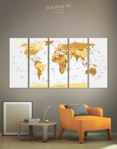 5 Panels World Pushpin Map Wall Art Canvas Print - 5 panels bedroom contemporary wall art Gold gold world map
