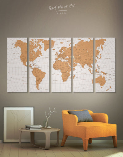 5 Panels World Travel Map With Pins Wall Art Canvas Print - 5 panels bedroom contemporary wall art Gilded world map wall art Gold