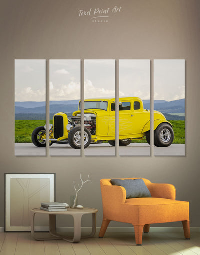 5 Panels Yellow Hot Rod Wall Art Canvas Print - 5 panels bachelor pad car garage wall art Hallway