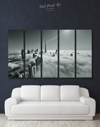 5 Piece Black and White Dubai Wall Art Canvas Print - 5 panels bedroom black and white wall art Cityscape Dubai