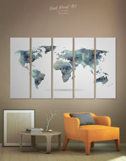 5 Piece Grey World Map Wall Art Canvas Print