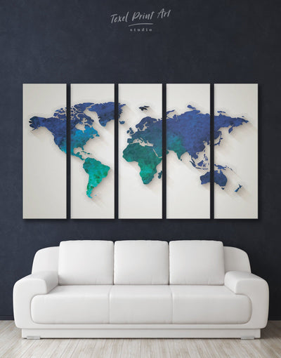 5 Piece Map of the World Wall Art Canvas Print - 5 panels Abstract abstract world map wall art bedroom Blue Abstract Wall art