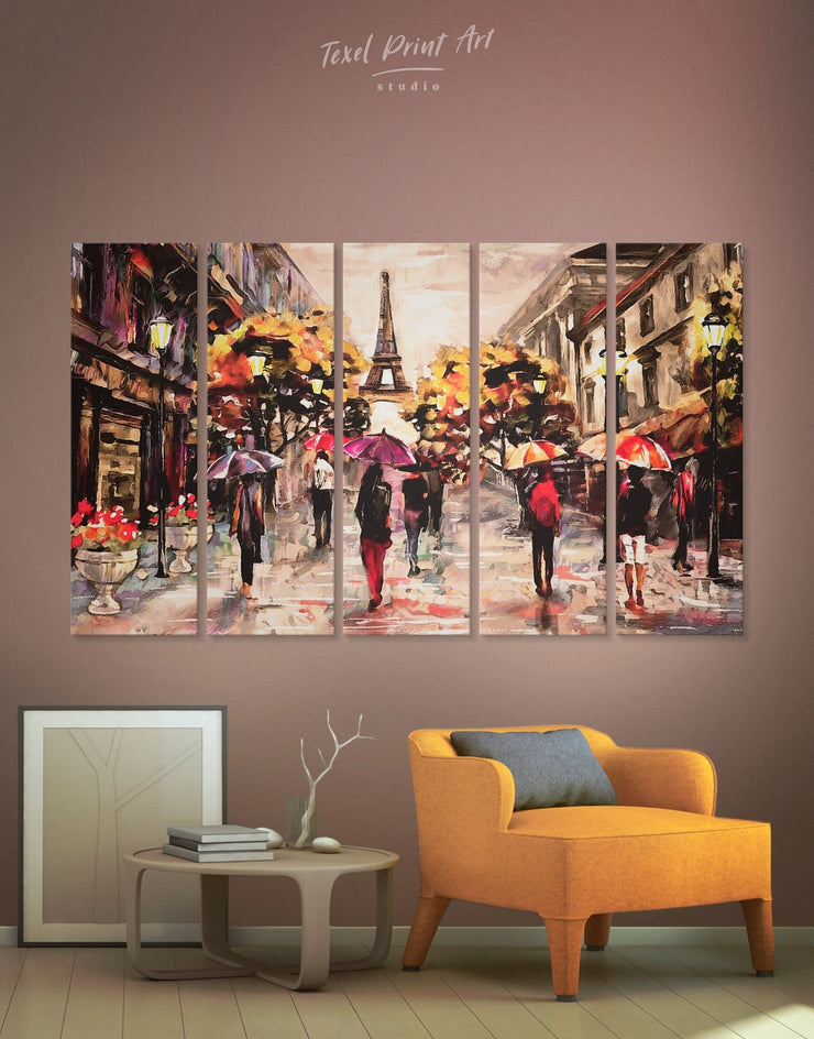 5 Piece Paris Romantic Wall Art Canvas Print - 5 panels bedroom eiffel tower wall art french wall art Living Room