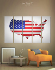 5 Piece USA Map and Flag Wall Art Canvas Print