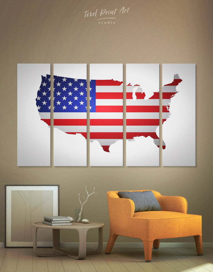5 Piece USA Map and Flag Wall Art Canvas Print - 5 panels bedroom Country Map Country Wall Art for Living Room Flag Wall Art