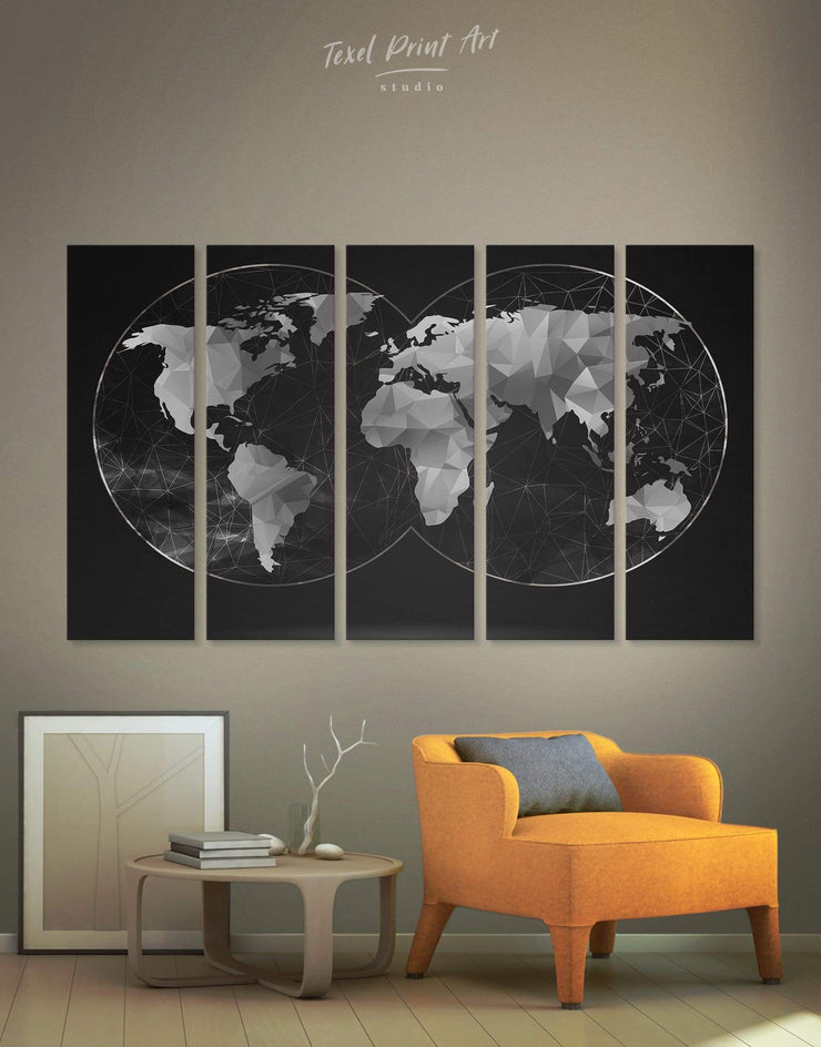 5 Piece World Map Wall Art Canvas Print - 5 panels Abstract map abstract world map wall art bedroom Black