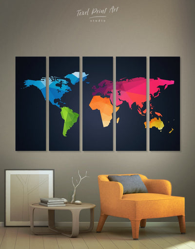 5 Pieces Abstract Geometric Wall Art Canvas Print - 5 panels Abstract Abstract map abstract world map wall art bedroom