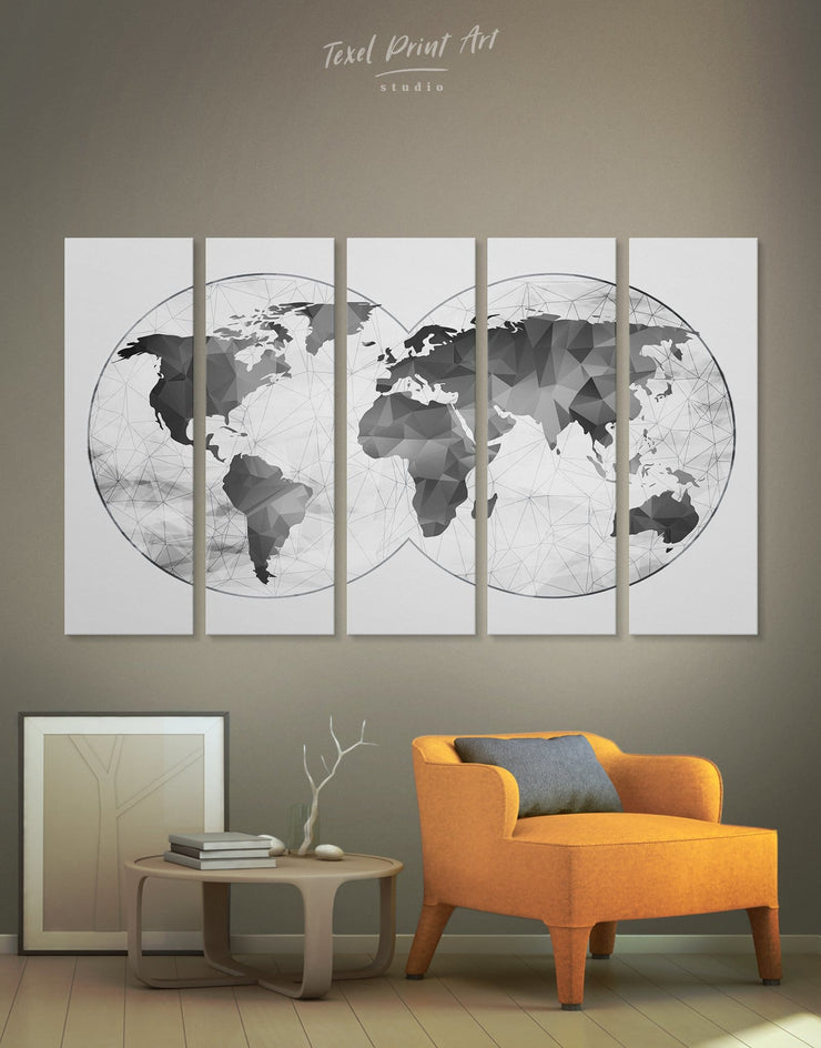5 Pieces Abstract World Map Wall Art Canvas Print - 5 panels Abstract map abstract world map wall art bedroom Contemporary