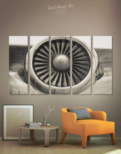 5 Pieces Airplane Wall Art Canvas Print - 5 panels Aviation bachelor pad bedroom Hallway