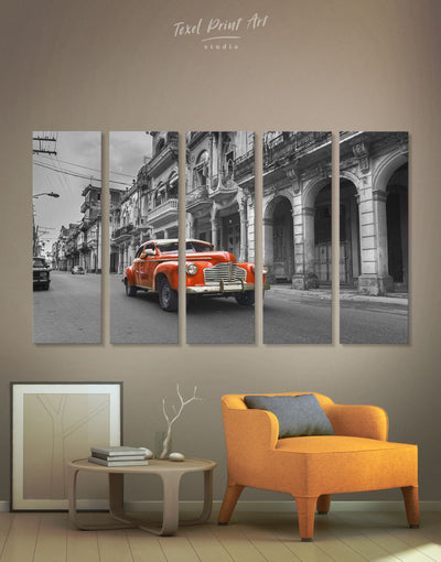 5 Pieces Antique Car Wall Art Canvas Print - 5 panels Car garage wall art Hallway Living Room
