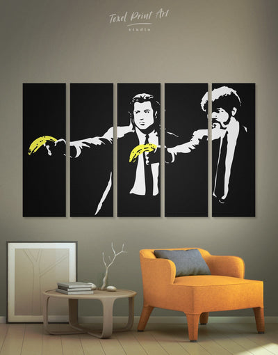 5 Pieces Banksy Pulp Fiction Wall Art Canvas Print - 5 panels banksy banksy wall art bedroom black