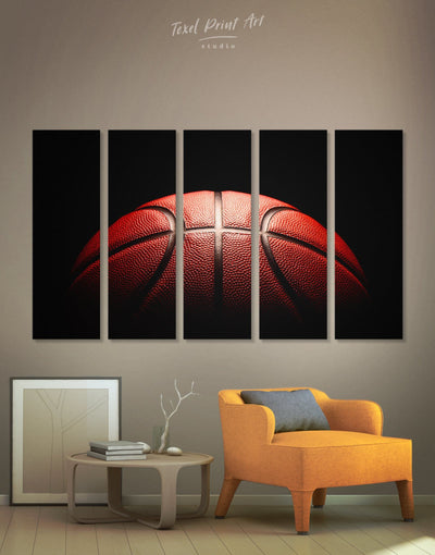 5 Pieces Basketball Wall Art Canvas Print - Canvas Wall Art 5 panels basketball black Hallway Living Room